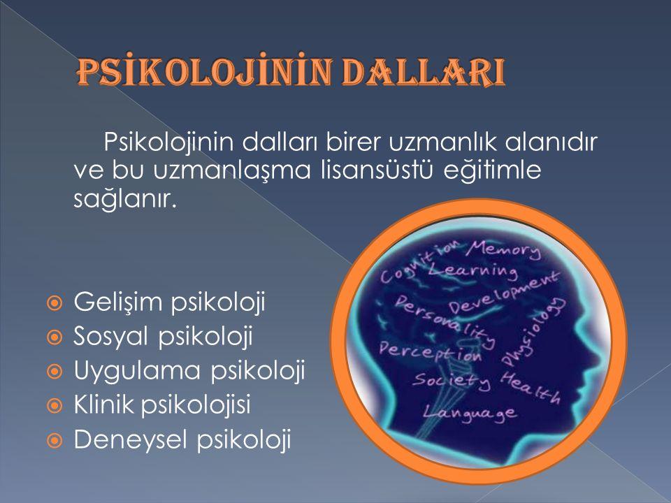 PSİKOLOJİNİN DALLARI Psikolojinin dalları birer uzmanlık alanıdır ve bu uzmanlaşma lisansüstü eğitimle sağlanır.
