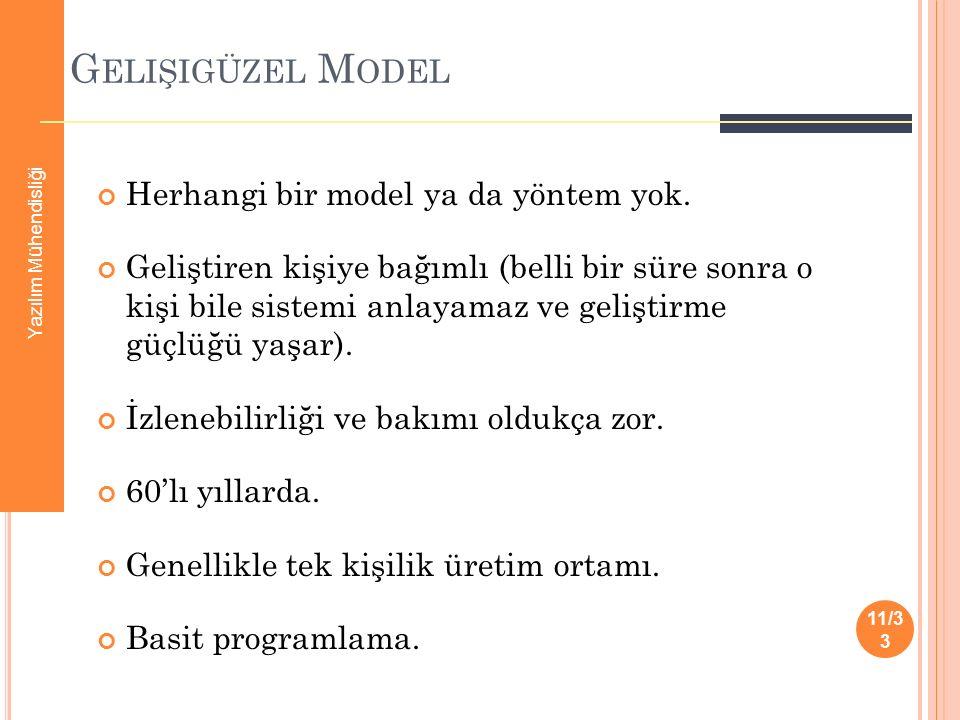 Gelişigüzel Model Herhangi bir model ya da yöntem yok.