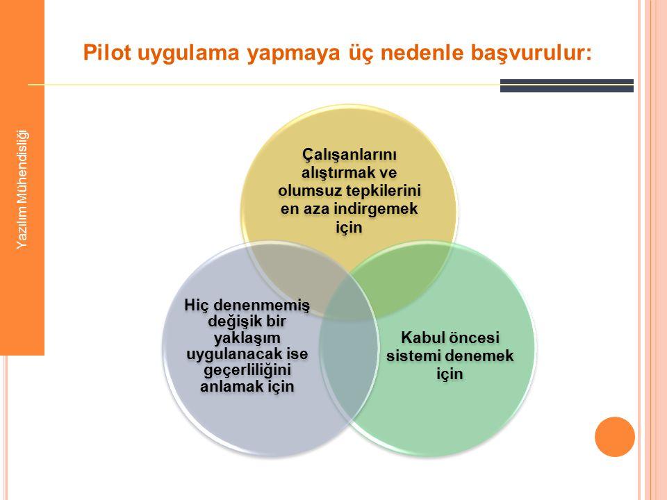 Pilot uygulama yapmaya üç nedenle başvurulur: