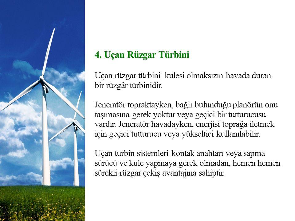 4. Uçan Rüzgar Türbini Uçan rüzgar türbini, kulesi olmaksızın havada duran bir rüzgâr türbinidir.