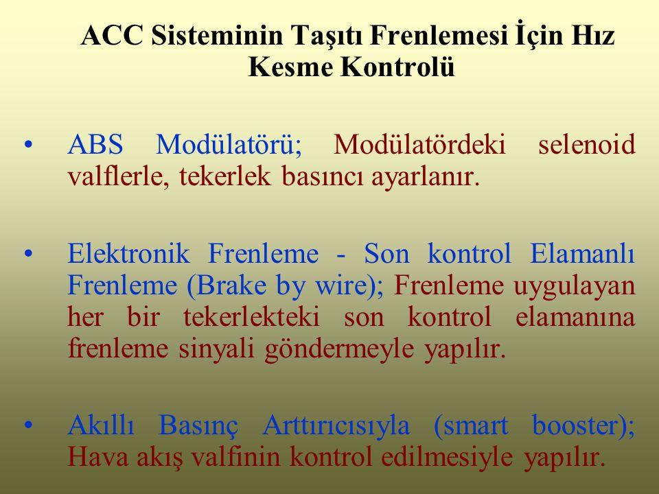 ACC Sisteminin Taşıtı Frenlemesi İçin Hız Kesme Kontrolü