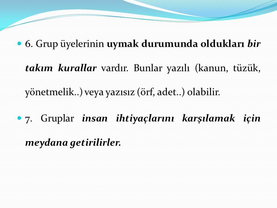 6. Grup üyelerinin uymak durumunda oldukları bir takım kurallar vardır