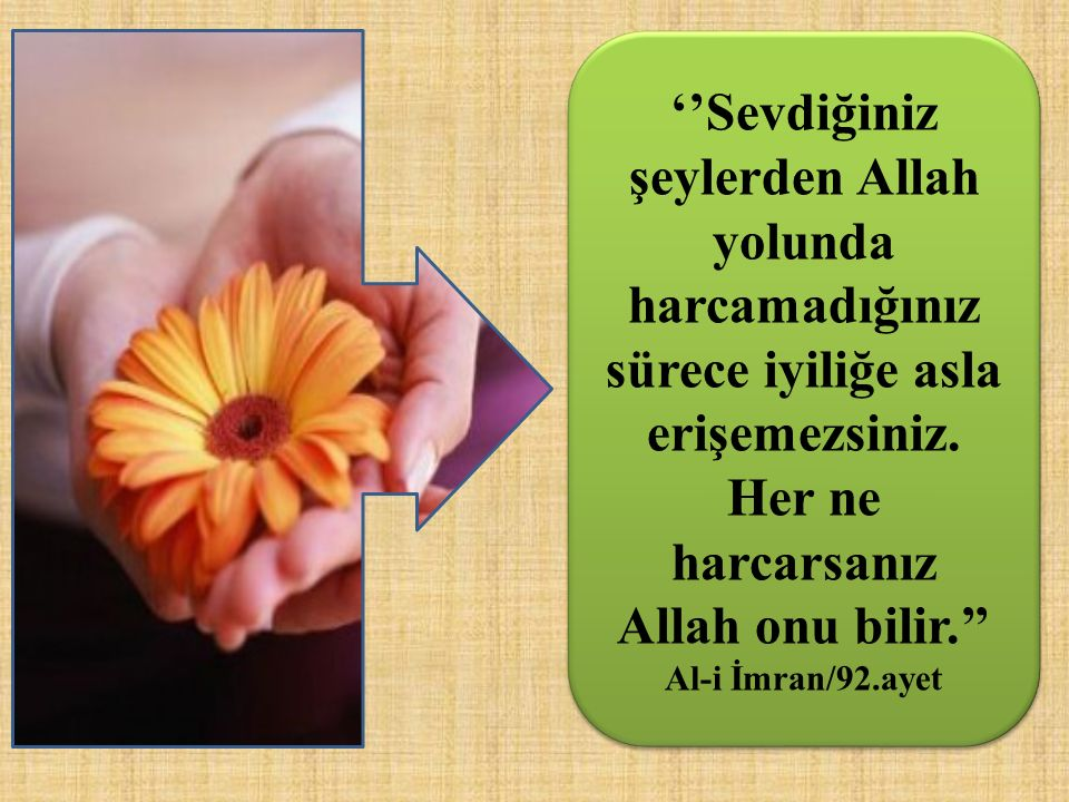 ''Sevdiğiniz şeylerden Allah yolunda harcamadığınız sürece iyiliğe asla erişemezsiniz. Her ne harcarsanız Allah onu bilir.''