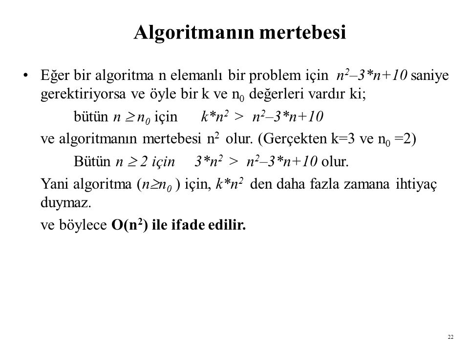 Algoritmanın mertebesi
