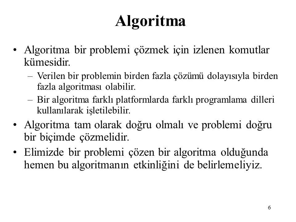 Algoritma Algoritma bir problemi çözmek için izlenen komutlar kümesidir.