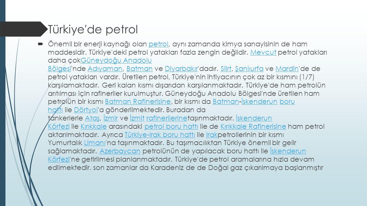 Türkiye de petrol