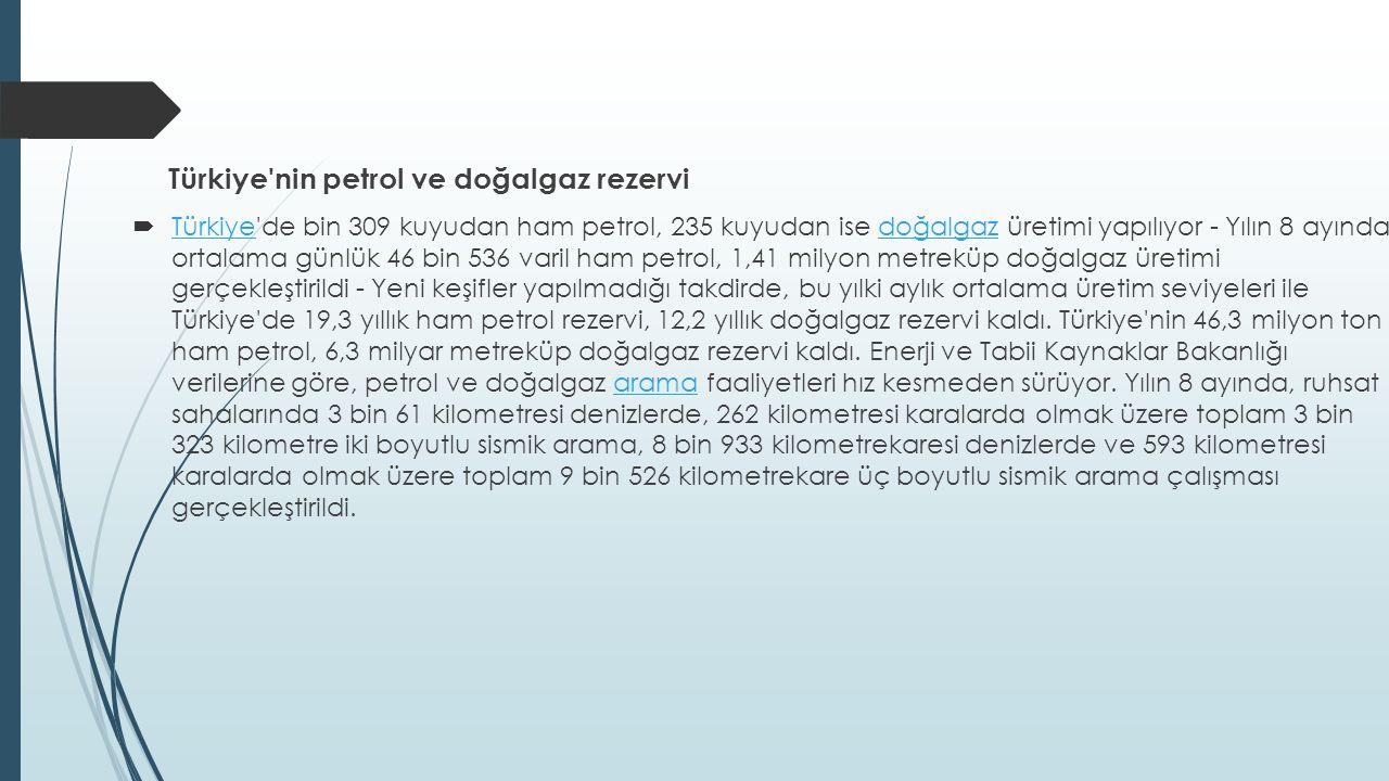 Türkiye nin petrol ve doğalgaz rezervi