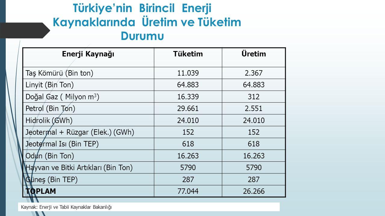 Türkiye'nin Birincil Enerji Kaynaklarında Üretim ve Tüketim Durumu