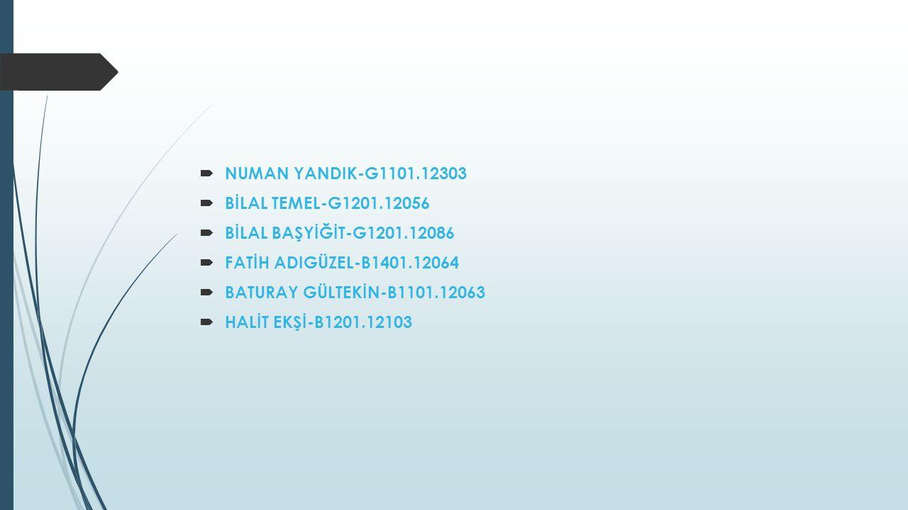 NUMAN YANDIK-G1101.12303 BİLAL TEMEL-G1201.12056. BİLAL BAŞYİĞİT-G1201.12086. FATİH ADIGÜZEL-B1401.12064.