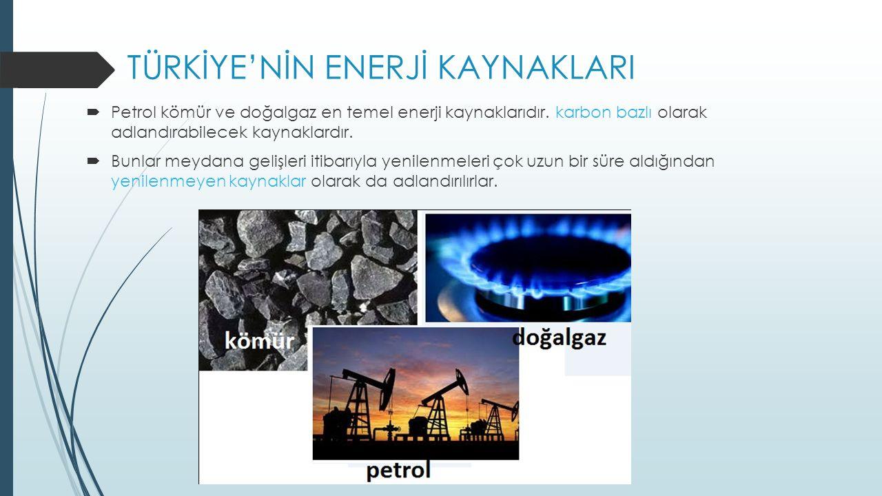 TÜRKİYE'NİN ENERJİ KAYNAKLARI
