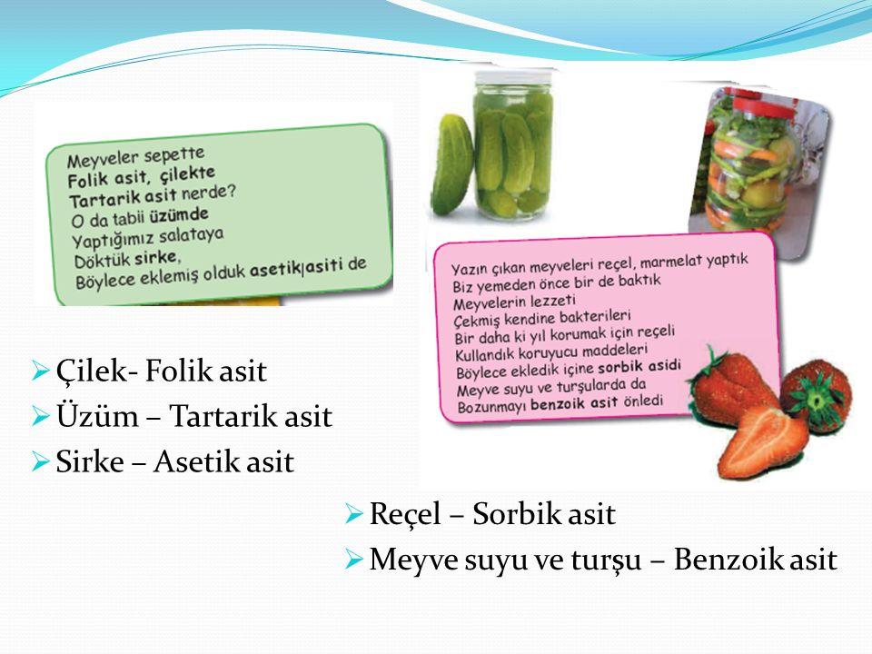 Çilek- Folik asit Üzüm – Tartarik asit. Sirke – Asetik asit.