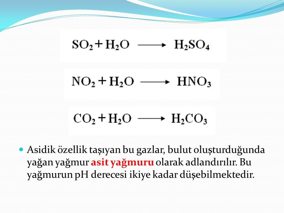 Asidik özellik taşıyan bu gazlar, bulut oluşturduğunda yağan yağmur asit yağmuru olarak adlandırılır.