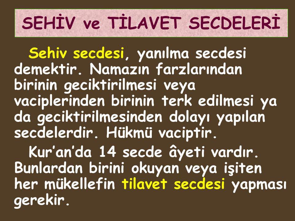 SEHİV ve TİLAVET SECDELERİ