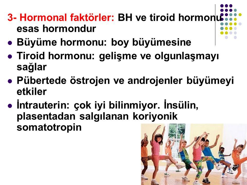 3- Hormonal faktörler: BH ve tiroid hormonu esas hormondur