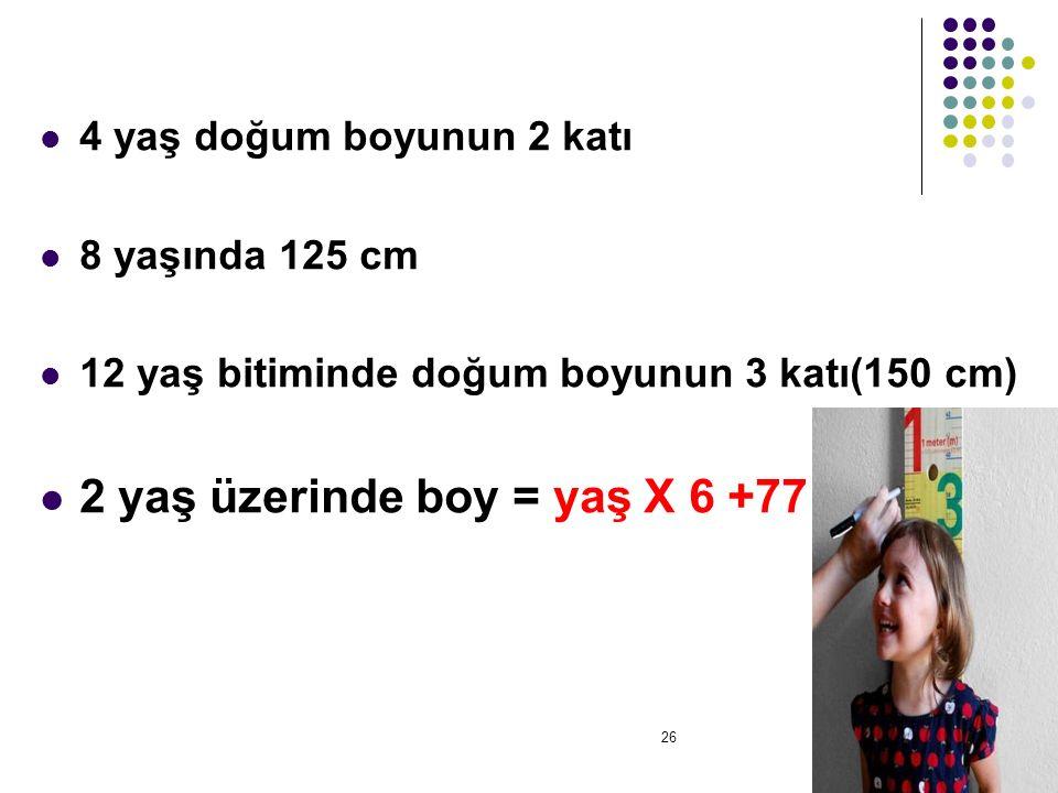 2 yaş üzerinde boy = yaş X 6 +77