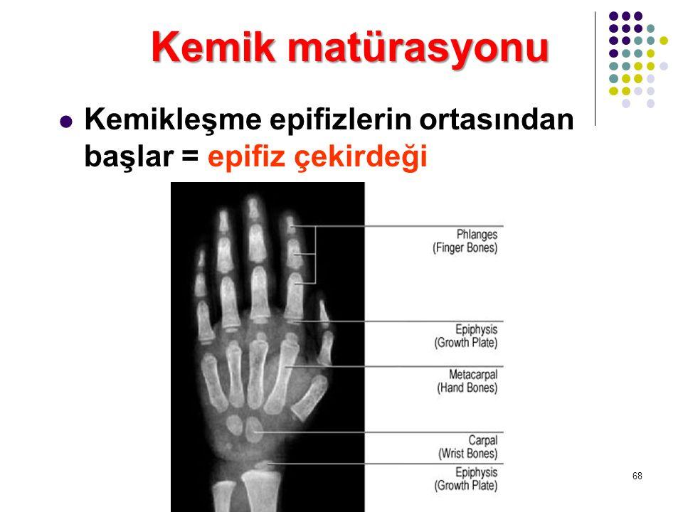 Kemik matürasyonu Kemikleşme epifizlerin ortasından başlar = epifiz çekirdeği