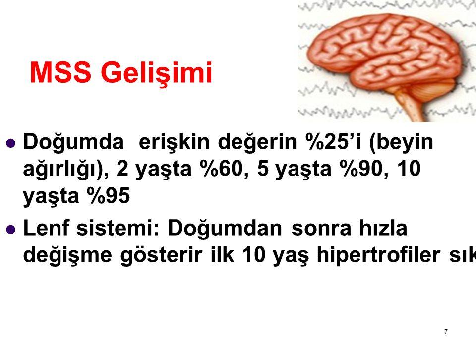 MSS Gelişimi Doğumda erişkin değerin %25'i (beyin ağırlığı), 2 yaşta %60, 5 yaşta %90, 10 yaşta %95.