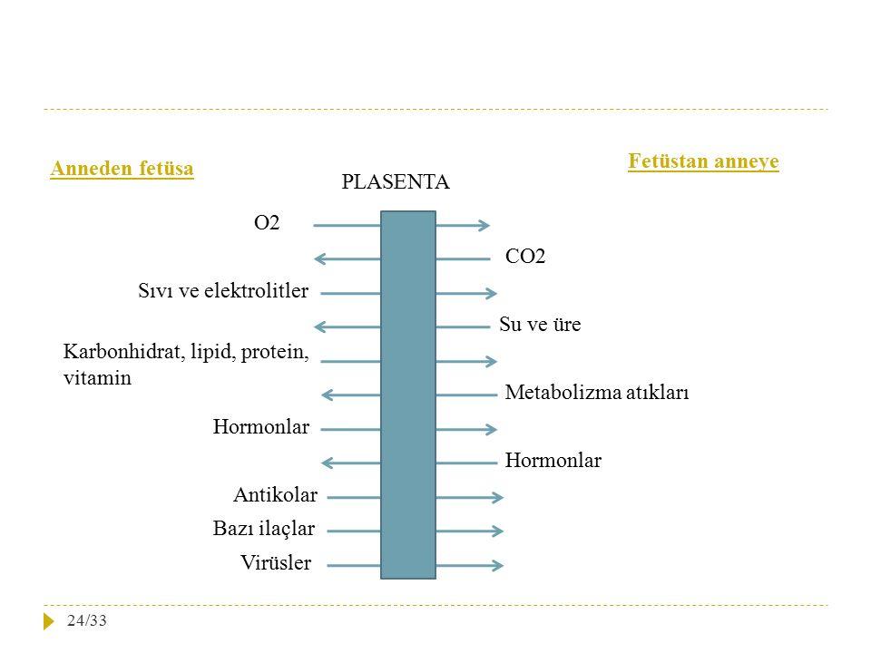 Fetüstan anneye Anneden fetüsa. PLASENTA. O2. CO2. Sıvı ve elektrolitler. Su ve üre. Karbonhidrat, lipid, protein, vitamin.