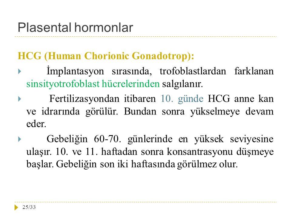 Plasental hormonlar HCG (Human Chorionic Gonadotrop):
