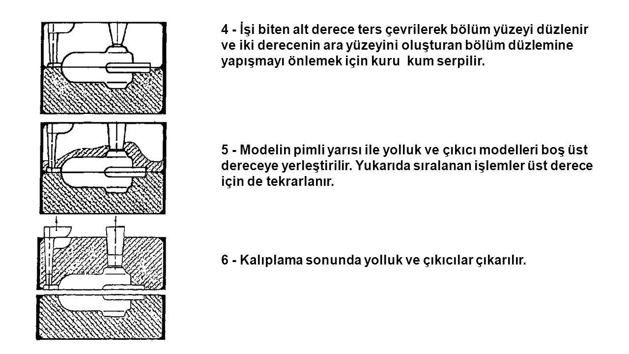 4 - İşi biten alt derece ters çevrilerek bölüm yüzeyi düzlenir ve iki derecenin ara yüzeyini oluşturan bölüm düzlemine yapışmayı önlemek için kuru kum serpilir.