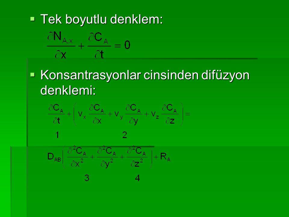 Tek boyutlu denklem: Konsantrasyonlar cinsinden difüzyon denklemi: