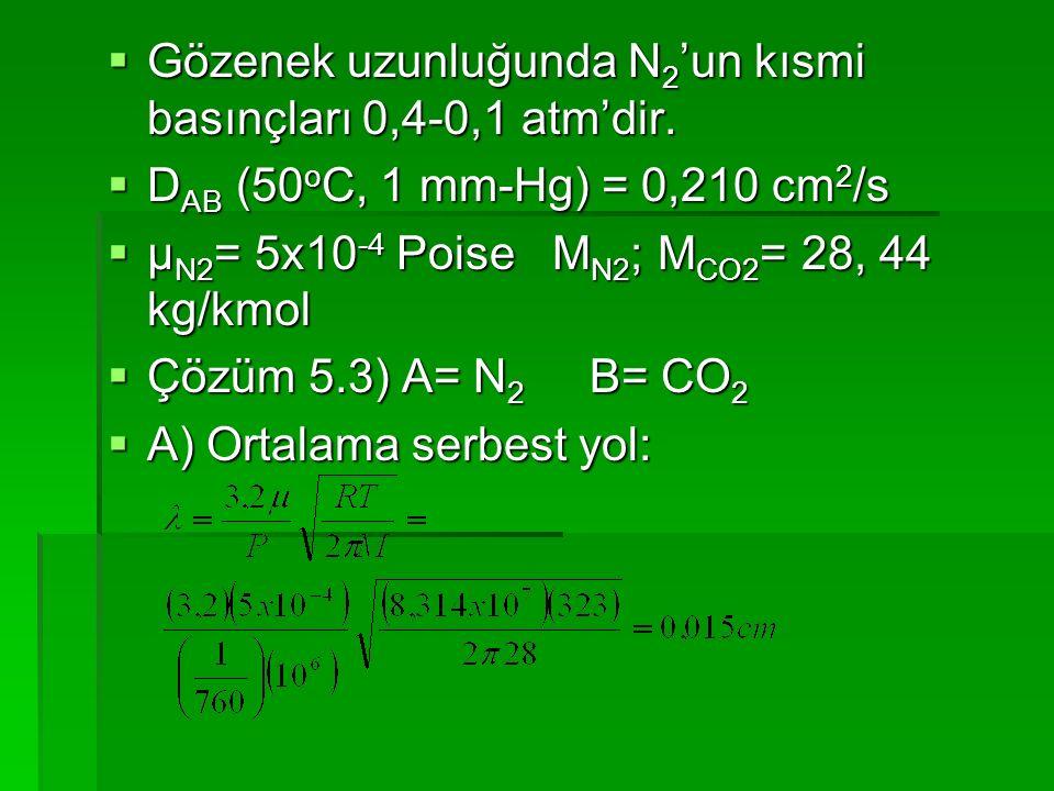 Gözenek uzunluğunda N2'un kısmi basınçları 0,4-0,1 atm'dir.