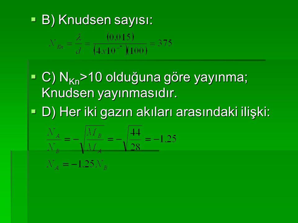 B) Knudsen sayısı: C) NKn>10 olduğuna göre yayınma; Knudsen yayınmasıdır.