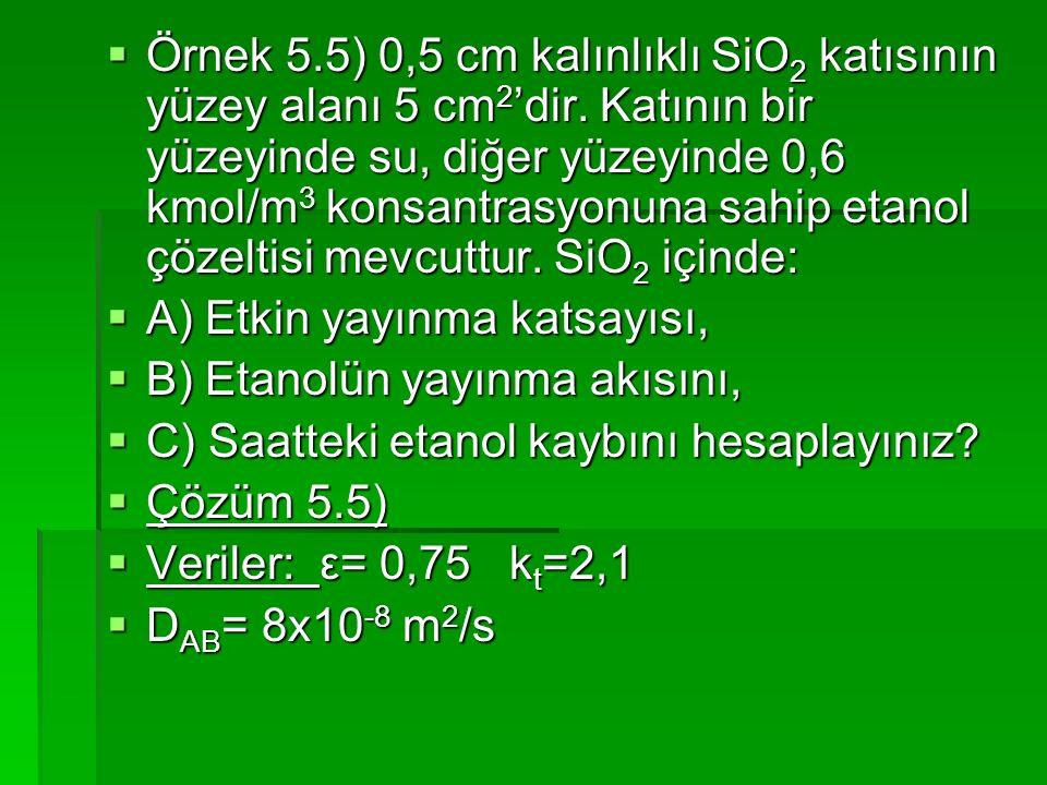 Örnek 5. 5) 0,5 cm kalınlıklı SiO2 katısının yüzey alanı 5 cm2'dir