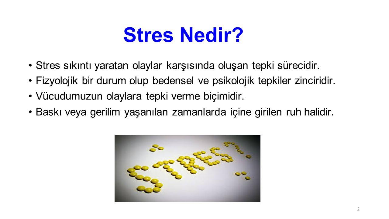 Stres Nedir Stres sıkıntı yaratan olaylar karşısında oluşan tepki sürecidir. Fizyolojik bir durum olup bedensel ve psikolojik tepkiler zinciridir.