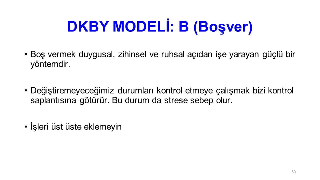 DKBY MODELİ: B (Boşver)