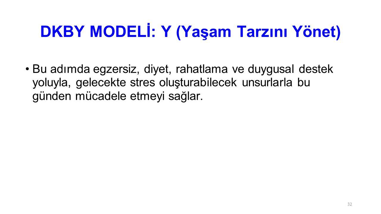 DKBY MODELİ: Y (Yaşam Tarzını Yönet)