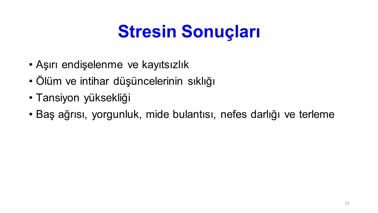 Stresin Sonuçları Aşırı endişelenme ve kayıtsızlık