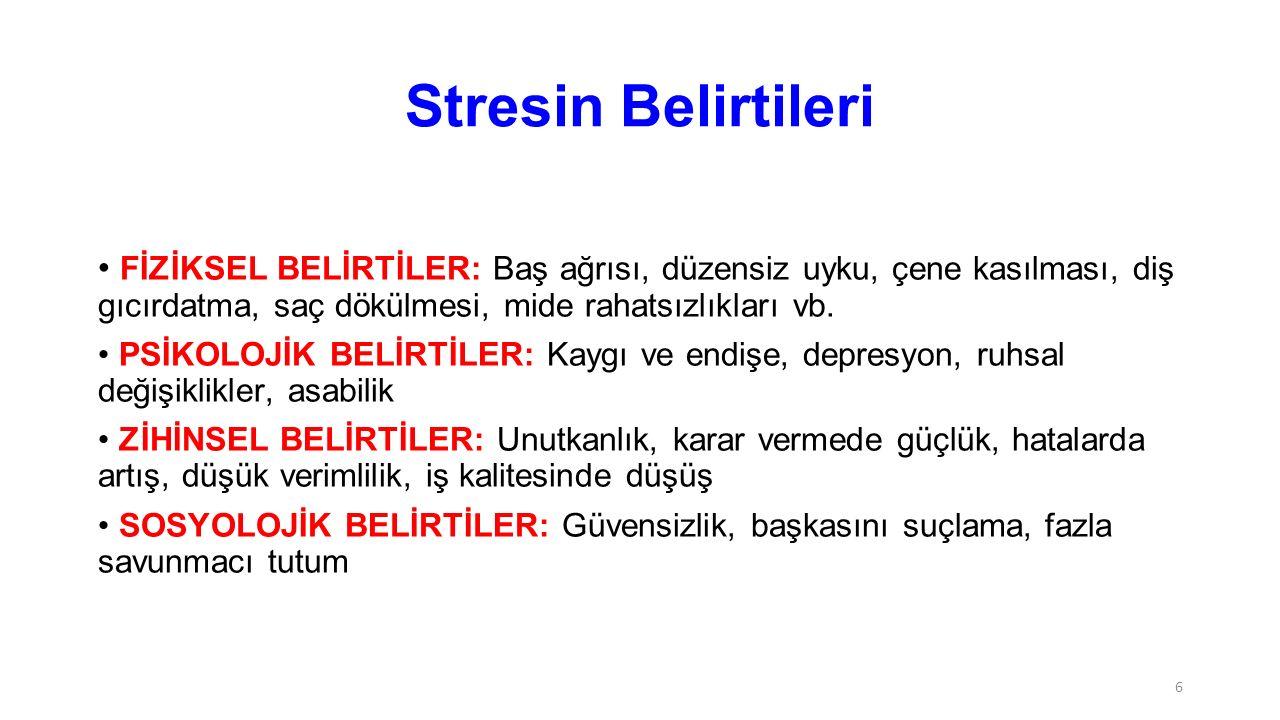 Stresin Belirtileri FİZİKSEL BELİRTİLER: Baş ağrısı, düzensiz uyku, çene kasılması, diş gıcırdatma, saç dökülmesi, mide rahatsızlıkları vb.