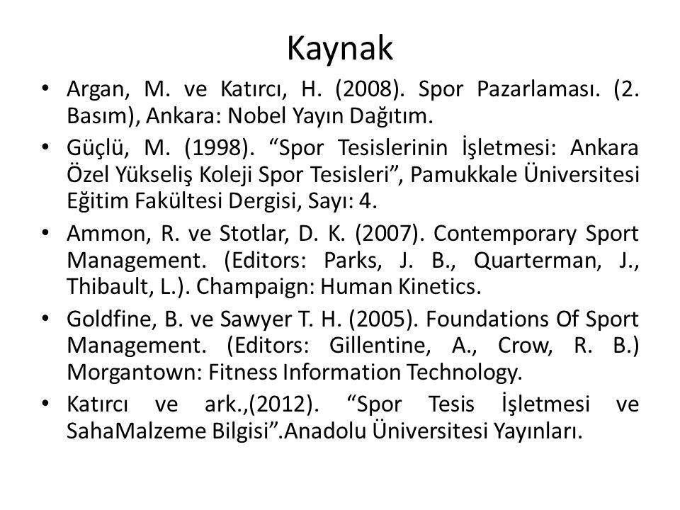 Kaynak Argan, M. ve Katırcı, H. (2008). Spor Pazarlaması. (2. Basım), Ankara: Nobel Yayın Dağıtım.