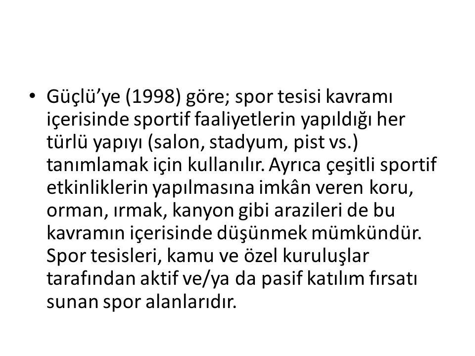 Güçlü'ye (1998) göre; spor tesisi kavramı içerisinde sportif faaliyetlerin yapıldığı her türlü yapıyı (salon, stadyum, pist vs.) tanımlamak için kullanılır.