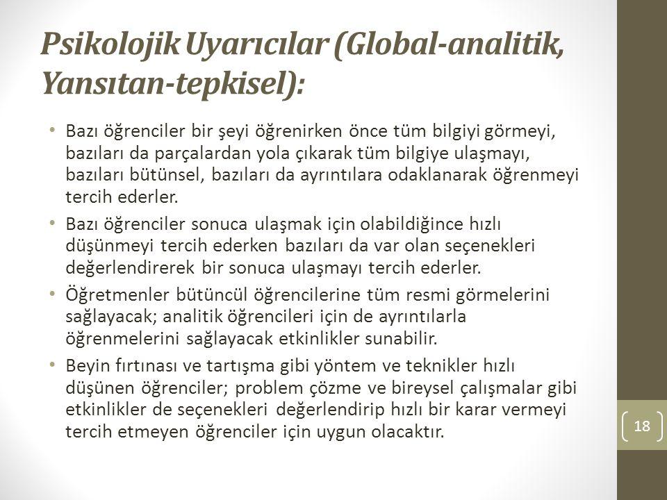 Psikolojik Uyarıcılar (Global-analitik, Yansıtan-tepkisel):