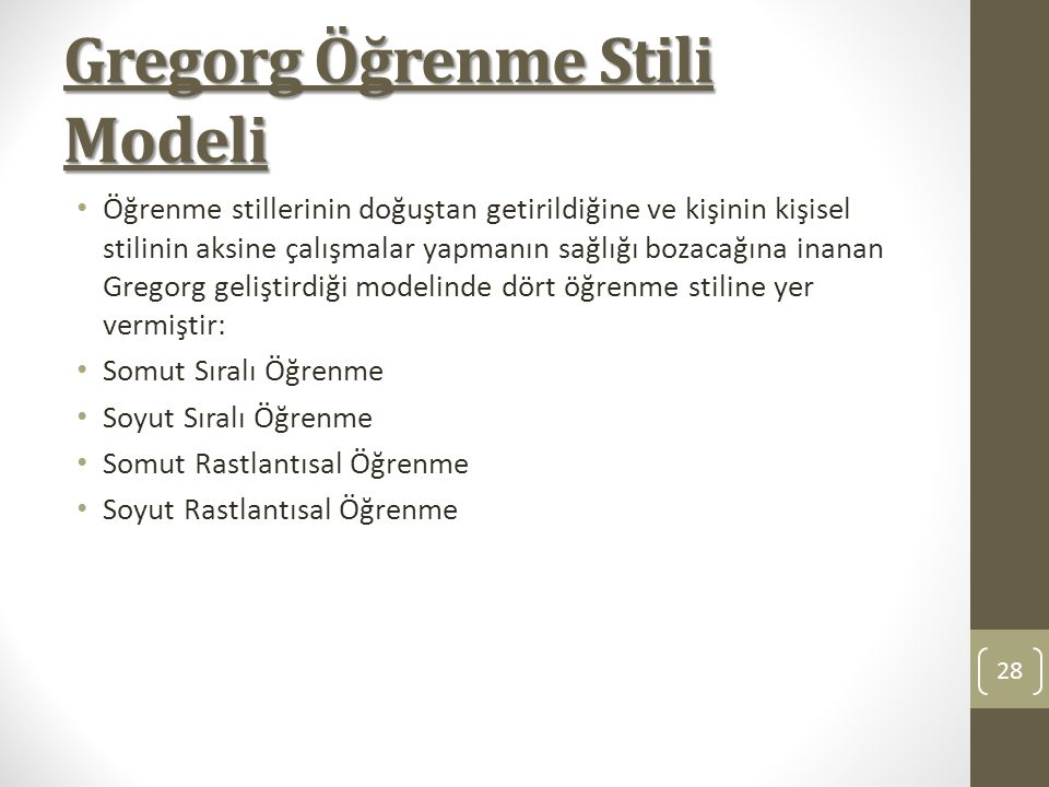 Gregorg Öğrenme Stili Modeli