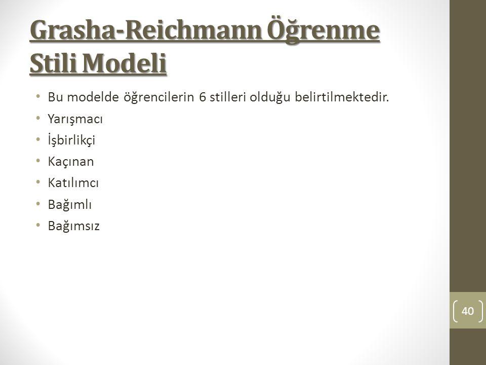 Grasha-Reichmann Öğrenme Stili Modeli