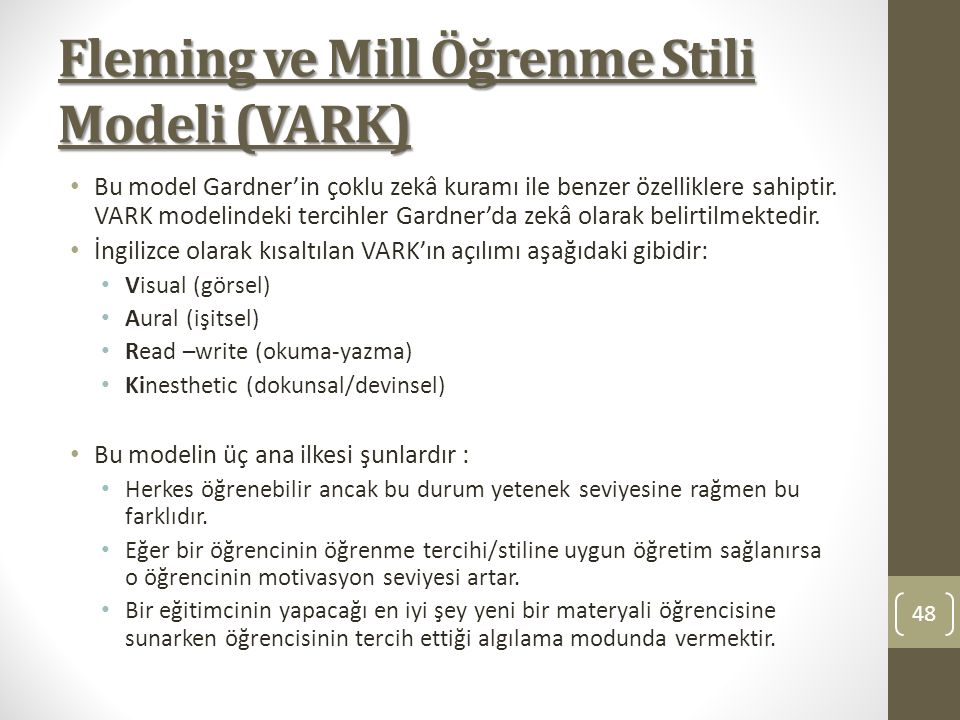 Fleming ve Mill Öğrenme Stili Modeli (VARK)