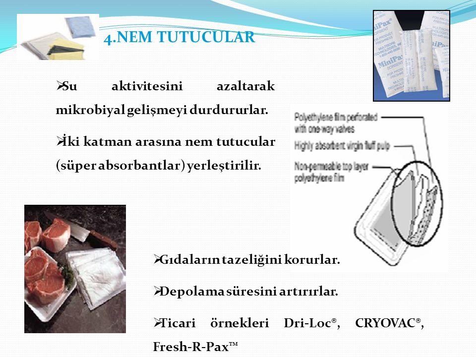 4.NEM TUTUCULAR Su aktivitesini azaltarak mikrobiyal gelişmeyi durdururlar. İki katman arasına nem tutucular (süper absorbantlar) yerleştirilir.