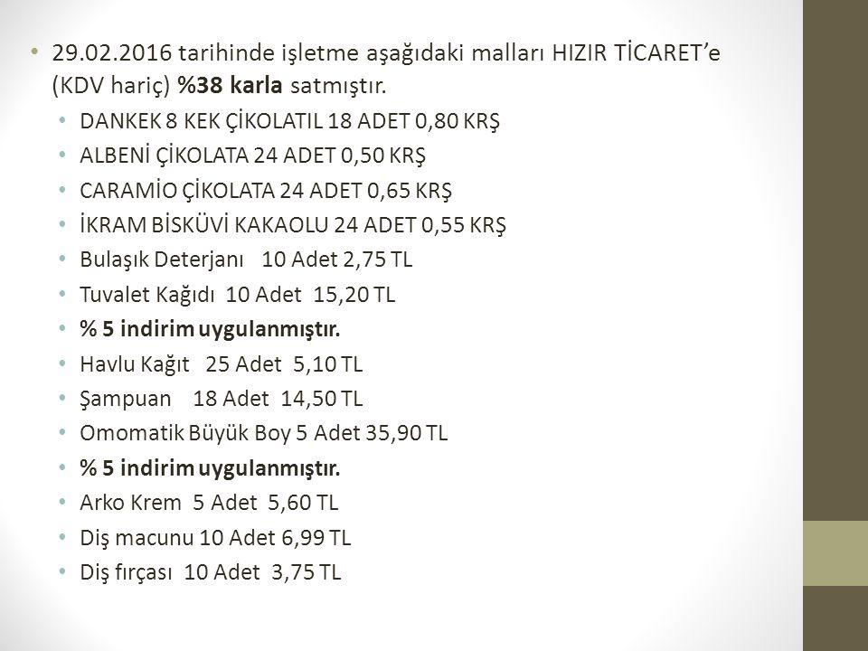 29.02.2016 tarihinde işletme aşağıdaki malları HIZIR TİCARET'e (KDV hariç) %38 karla satmıştır.