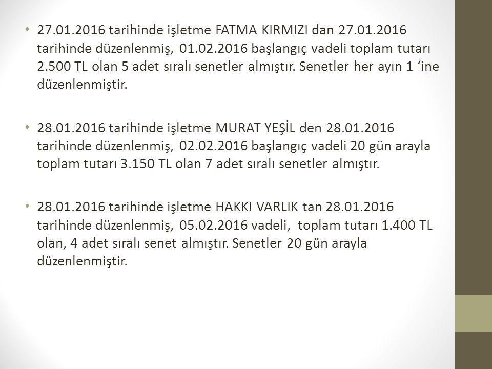 27. 01. 2016 tarihinde işletme FATMA KIRMIZI dan 27. 01