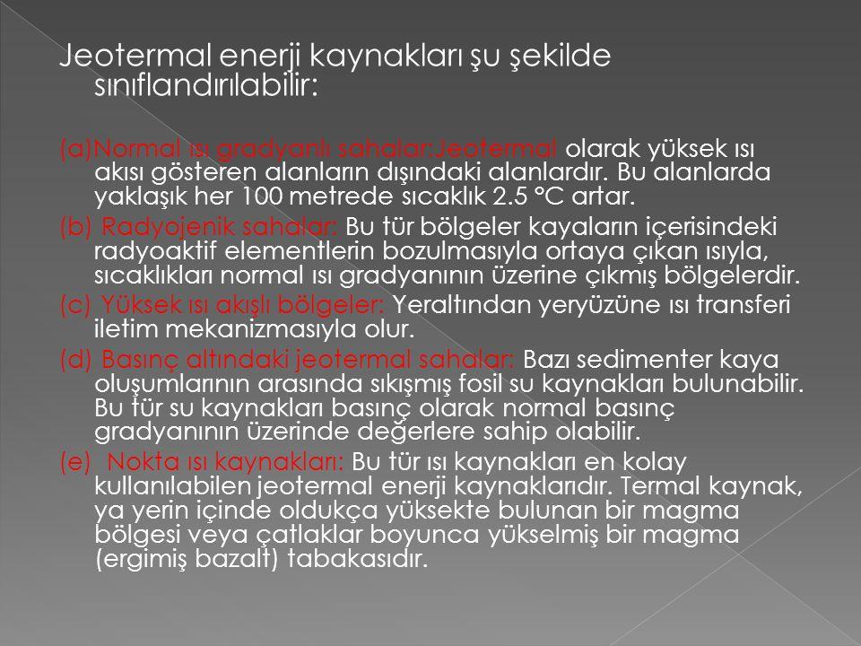 Jeotermal enerji kaynakları şu şekilde sınıflandırılabilir: