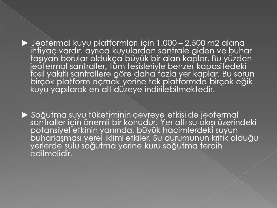 ► Jeotermal kuyu platformları için 1. 000 – 2