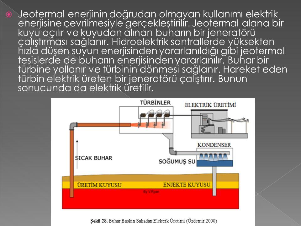 Jeotermal enerjinin doğrudan olmayan kullanımı elektrik enerjisine çevrilmesiyle gerçekleştirilir.