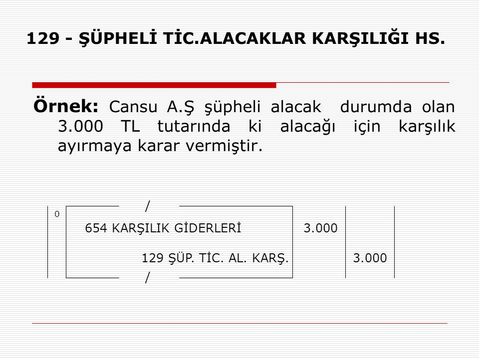 129 - ŞÜPHELİ TİC.ALACAKLAR KARŞILIĞI HS.