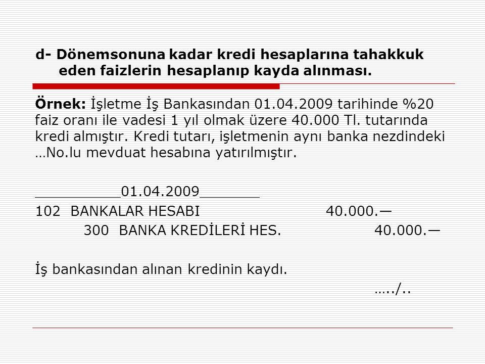 d- Dönemsonuna kadar kredi hesaplarına tahakkuk eden faizlerin hesaplanıp kayda alınması.