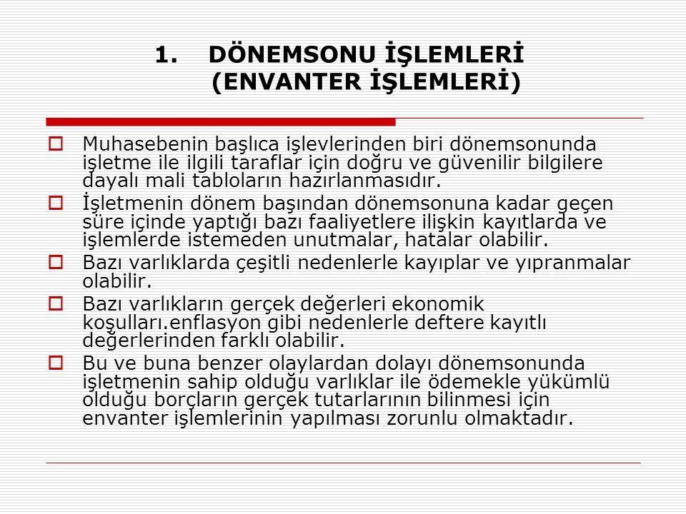 DÖNEMSONU İŞLEMLERİ (ENVANTER İŞLEMLERİ)