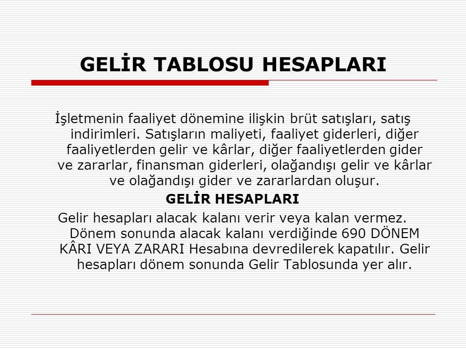 GELİR TABLOSU HESAPLARI