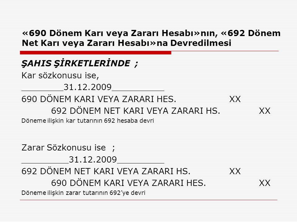 690 DÖNEM KARI VEYA ZARARI HES. XX